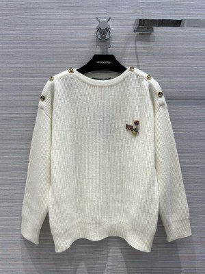 Louis Vuitton cashmere Badge sweater white 2021 Collection