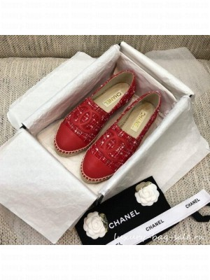 Chanel Tweed Flat Espadrilles G29762 Red  2021 Collection