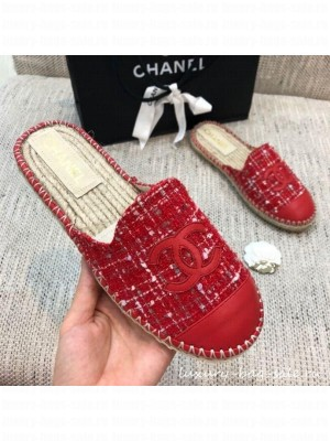 Chanel Tweed Espadrilles Mules G37482 Red  2021 Collection