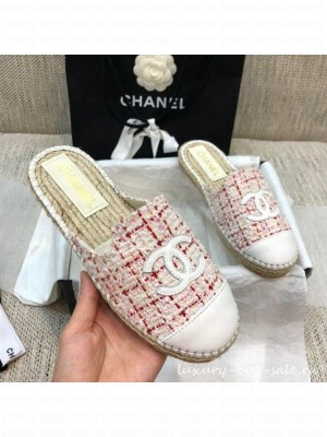 Chanel Tweed Espadrilles Mules G37482 Pink  2021 Collection