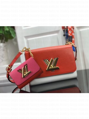 Louis Vuitton Twist MM and Twisty Wallet Epi Leather Bag Set M55683 Pink/Red/White 2019 Collection