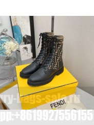 Fendi Rockoko combat boots with stretch fabric inserts biker boots 012 2021 Collection