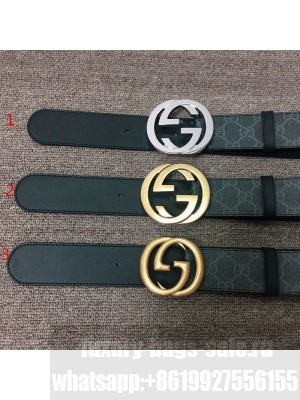 Gucci GG Canvas and Calfskin Belt 38mm with GG Buckle Black 2020 Collection