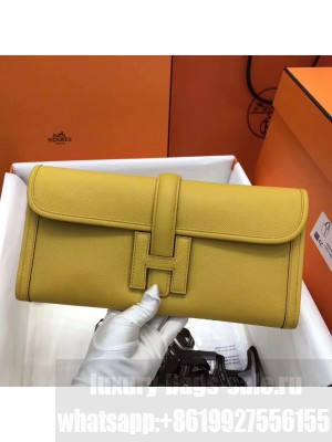 Hermes Jige Elan 29 Epsom Leather Clutch Bag Yellow 2019 Collection