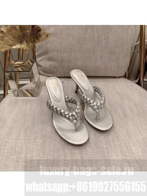 Gianvito Rossi TROPEA Heel 7.5cm thong-sandal in silver leather 2021 Collection