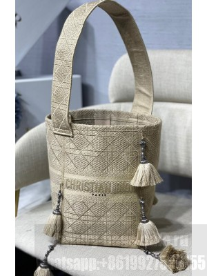 Dior D-Bubble Bucket Bag in Beige Cannage Embroidery with Straw Effect  2021 Collection