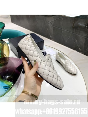 Chanel Sheepskin Loafer White 2021 Collection