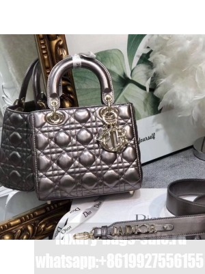 Dior MY ABCDior Medium Bag in Cannage Leather Metallic Grey 2019 Collection