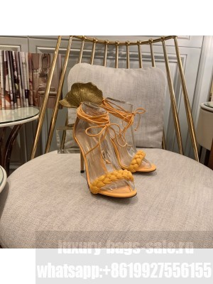 GIANVITO ROSSI LEOMI 105 MM LEATHER SANDALS ORANGE Spring/Summer 2021 Collection