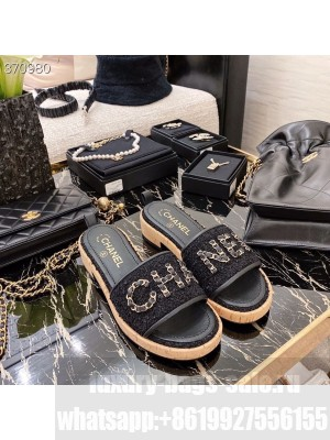 Chanel Woven Slide On Sandals Tweed/Lambskin Leather Spring/Summer 2021 Collection, Black