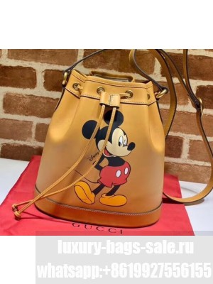 Disney x Gucci Small Bucket Bag 602691 Leather Apricot 2020