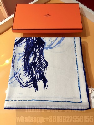 Hermes Shawl in cashmere and silk 140 x 140cm 2021 H056