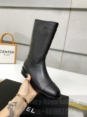 Chanel Calfskin 3cm Black Long Boots 05 2021 Collection