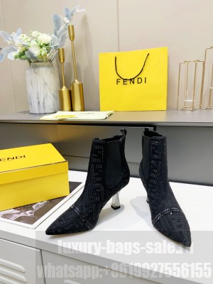 Fendi 8.5cm Black fabric with rhinestone embroidery Ankle Boot 2021 Collection