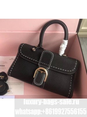 Delvaux Brillant East/West Mini Tote Bag In Togo Leather Large Black
