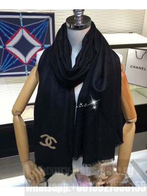 Chanel Women s Sequined Logo Print Long Scarf Black