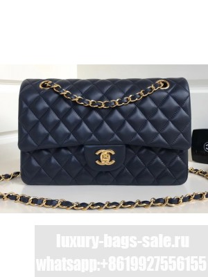 Chanel Classic Flap Medium Bag A1112 Navy Blue in Sheepskin Leather with Gold Hardware