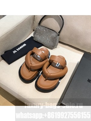 JIL SANDER Outdoor platform sandals with toe post geta-style upper Brown 2021 Collection