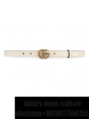 Gucci Calfskin Belt 25mm with GG Buckle White/Gold 2020 Collection