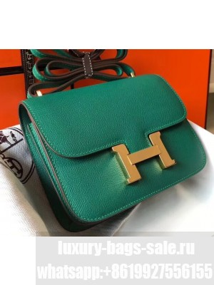 Hermes Constance Mini/MM Bag in Epsom Leather Peacock Green with Gold Hardware