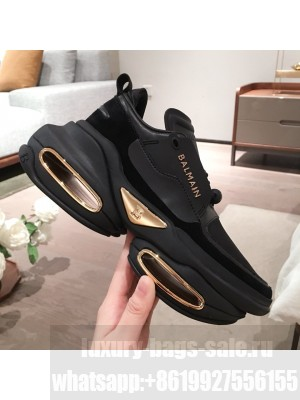 Balmain Leather and Suede BBold Low-top Sneakers Black 2020 Collection