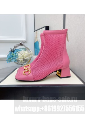 Gucci Women's Pink GG Horsebit Mesh Heel 5.5  Ankle Boot 2021 Collection