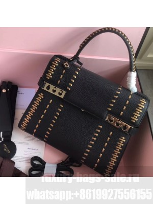 Delvaux Tribal Stitch Tempete MM Top Handle Tote Bag Black