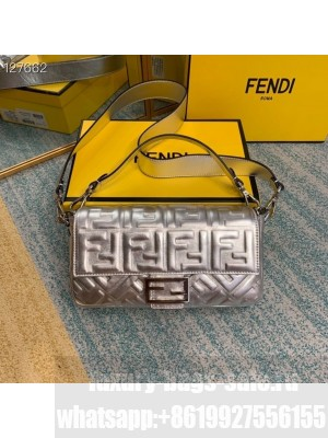 Fendi Embossed FF Logo Baguette Bag 26cm Calfskin Leather Fall/Winter 2020 Collection, Silver
