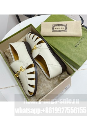 GUCCI Calfskin Cut out Loafers White 2021 Collection