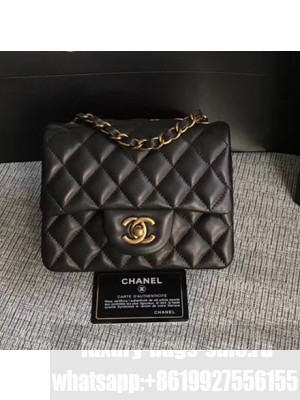Chanel Classic Flap Mini Bag A1115 in Lambskin Leather Black with Vintage Golden Hardware