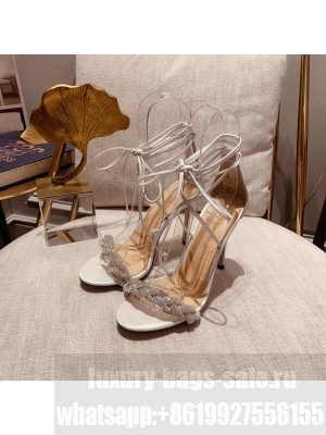 GIANVITO ROSSI CRYSTAL LEOMI LEATHER SANDALS WHITE Spring/Summer 2021 Collection