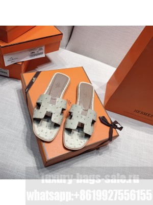 Hermes Oran Flat slippers with Ostrich Leather 087 2021 Collection