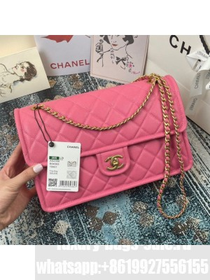 Chanel Grained Calfskin Large Square Flap Bag AS2358 Pink Spring/Summer 2021 Collection