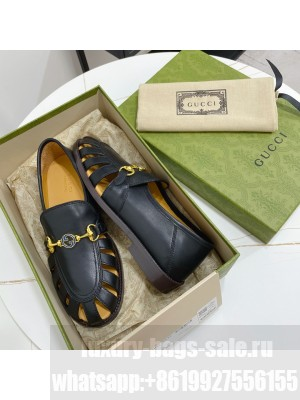 GUCCI Calfskin Cut out Loafers Black 2021 Collection