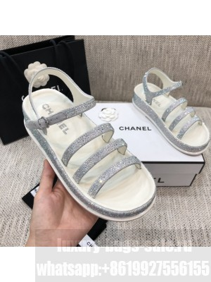Chanel Silver Diamond Flat Embroidered Logo Sandals  2021 Collection