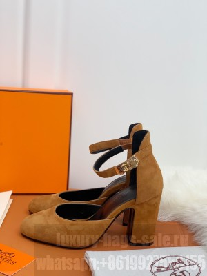 Hermes Kelly Brown Suede 9cm Pumps 2021 Collection