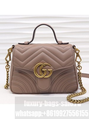 Gucci GG Marmont Leather Mini Top Handle Bag 547260 Dusty Pink 2019 Collection