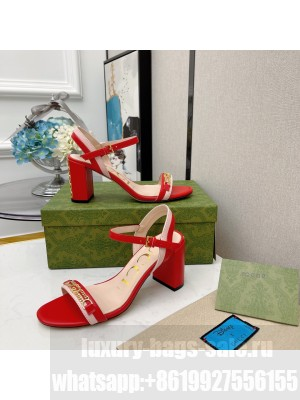 Gucci Women's sandal with chain-shaped heel 7.5cm Red 2021 Collection