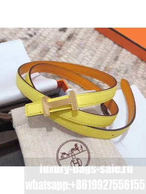Hermes Width 1.3cm Swift & Epsom Leather Reversible Belt With H Buckle Yellow 2020 Collection