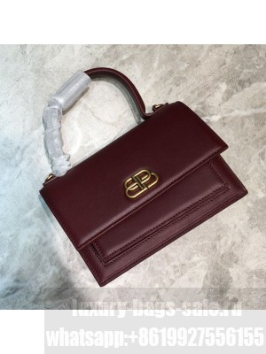 Balenciaga Sharp XS Satchel Top Handle Bag in Black Smooth Leather Burgundy 2020 Collection