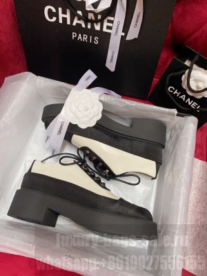 Chanel Women's Lace-Ups White Calfskin & Silk 2021 Collection