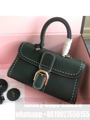Delvaux Brillant East/West Mini Tote Bag In Togo Leather Large Dark Green