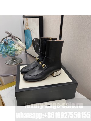 Gucci Women's Black GG Horsebit Crystal Heel Leather Ankle Boot 2021 Collection