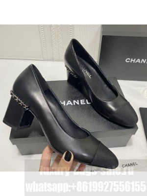 Chanel G37164 Laminated Lambskin Chain Pumps 6cm  Black 2021 Collection