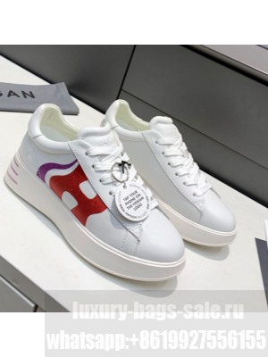 Hogan White Calfskin Sneakers Red Spring/Summer 2021 Collection 02