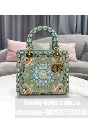 Dior Lady Dior Medium Bag in Turquoise Green In Lights Embroidery  2021 Collection