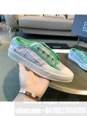 Chanel Cotton Tweed Platform Open Sneakers Green 2021 Collection