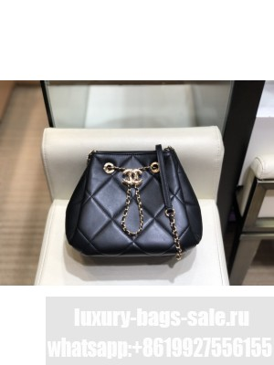 Chanel Quilted Lambskin Small Drawstring Bucket Bag AS1801 Black/Gold 2020 Collection