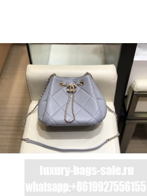Chanel Quilted Lambskin Small Drawstring Bucket Bag AS1801 Gray/Gold 2020 Collection