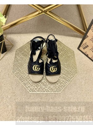 Gucci GG Lambskin Wedge Sandals Black 2021 Collection